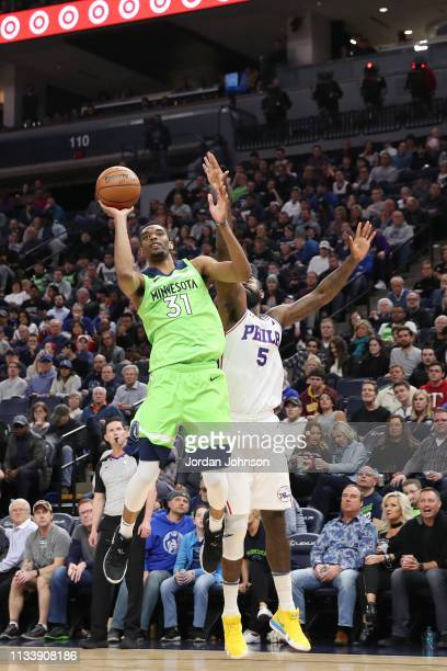 Keita BatesDiop of the Minnesota Timberwolves shoots the ball against the Philadelphia 76ers on March 30 2019 at Target Center in Minneapolis...