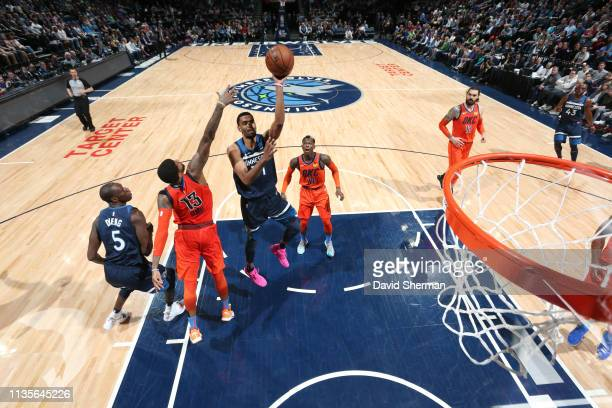 Keita BatesDiop of the Minnesota Timberwolves shoots the ball against the Oklahoma City Thunder on April 7 2019 at Target Center in Minneapolis...