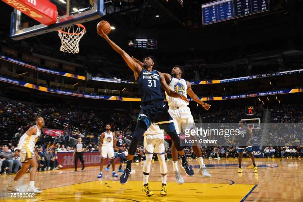 Keita BatesDiop of the Minnesota Timberwolves shoots the ball against the Golden State Warriors during a preseason game on October 10 2019 at Chase...
