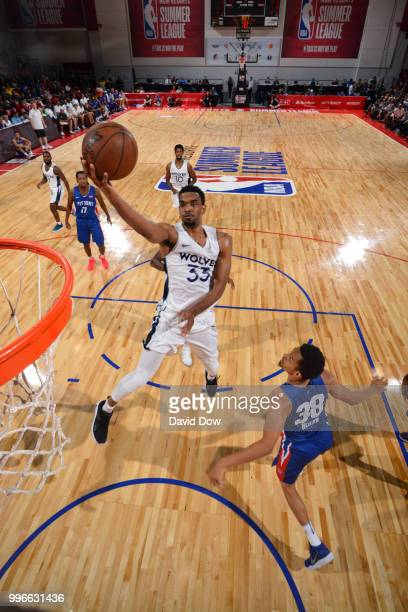 Keita BatesDiop of the Minnesota Timberwolves shoots the ball against the Detroit Pistons during the 2018 Las Vegas Summer League on July 11 2018 at...