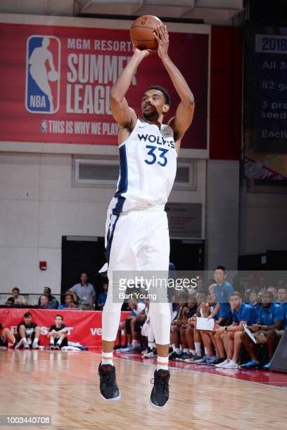 Keita BatesDiop of the Minnesota Timberwolves shoots the ball during the game against the Denver Nuggets during the 2018 Las Vegas Summer League on...
