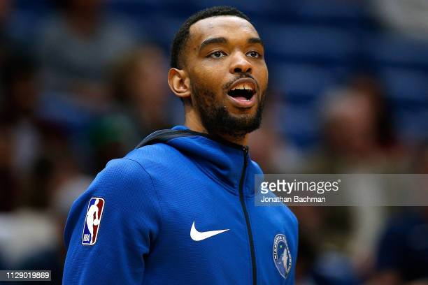 Keita BatesDiop of the Minnesota Timberwolves warms up against the New Orleans Pelicans at the Smoothie King Center on February 08 2019 in New...