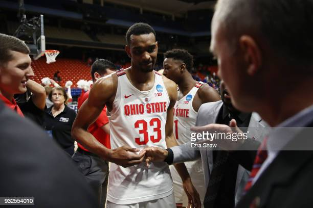 Keita BatesDiop of the Ohio State Buckeyes celebrates defeating the South Dakota State Jackrabbits 8173 in the first round of the 2018 NCAA Men's...