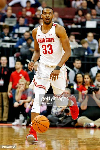 Keita BatesDiop of the Ohio State Buckeyes dribbles the ball during the game against the Iowa Hawkeyes at Value City Arena on February 10 2018 in...