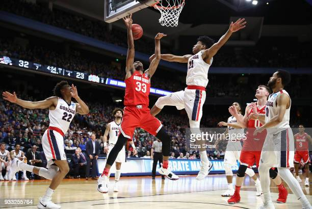 Keita BatesDiop of the Ohio State Buckeyes has his shot blocked during the first half by Rui Hachimura of the Gonzaga Bulldogs in the second round of...