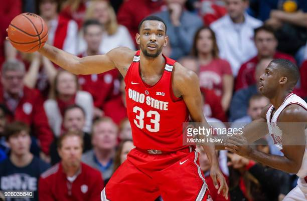 Keita BatesDiop of the Ohio State Buckeyes is seen during the game against Josh Newkirk of the Indiana Hoosiers at Simon Skjodt Assembly Hall on...