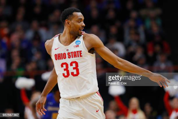 Keita BatesDiop of the Ohio State Buckeyes reacts against the South Dakota State Jackrabbits during the first round of the 2018 NCAA Men's Basketball...