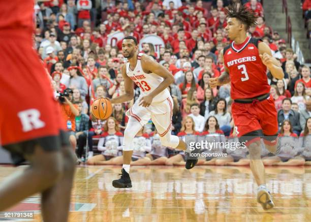 Keita BatesDiop of the Ohio State Buckeyes with the ball during the game between the Ohio State Buckeyes and the Rutgers Scarlet Knights at the Value...