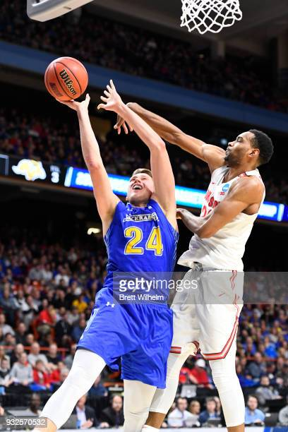 Keita BatesDiop of the Ohio State University blocks the shot from Mike Daum of the South Dakota State University during the First Round of the 2018...
