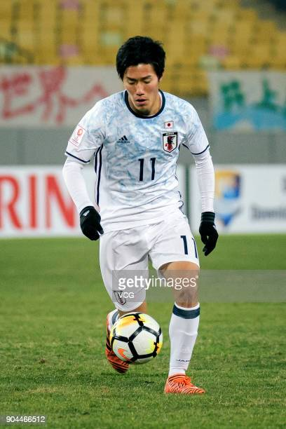 Keita Endo of Japan drives the ball during the AFC U23 Championship Group B match between Thailand and Japan at Jiangyin Stadium on January 13 2018...