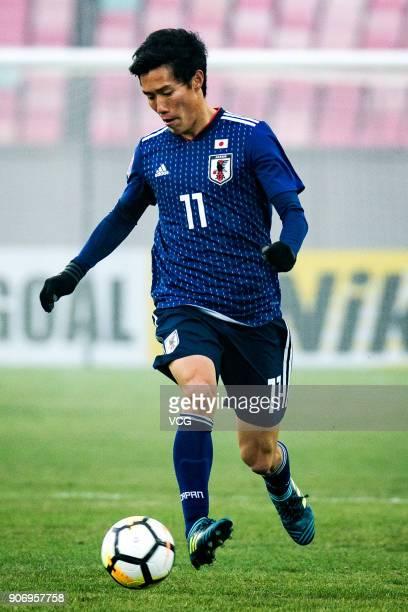 Keita Endo of Japan drives the ball during the AFC U23 Championship quarterfinal match between Japan and Uzbekistan at Jiangyin Stadium on January 19...