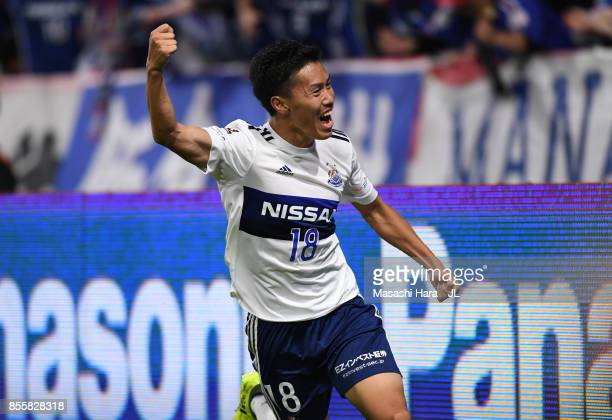 Keita Endo of Yokohama FMarinos celebrates scoring his side's second goal during the JLeague J1 match between Gamba Osaka and Yokohama FMarinos at...