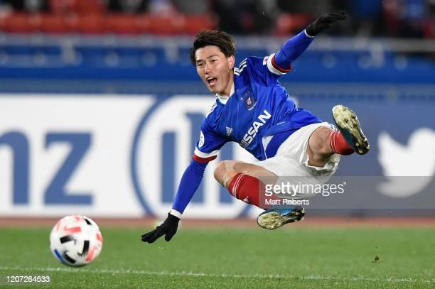 Keita Endo of Yokohama F.Marinos kicks the ball during the AFC Champions League Group H match between Yokohama F.Marinos and Sydney FC at Nissan...