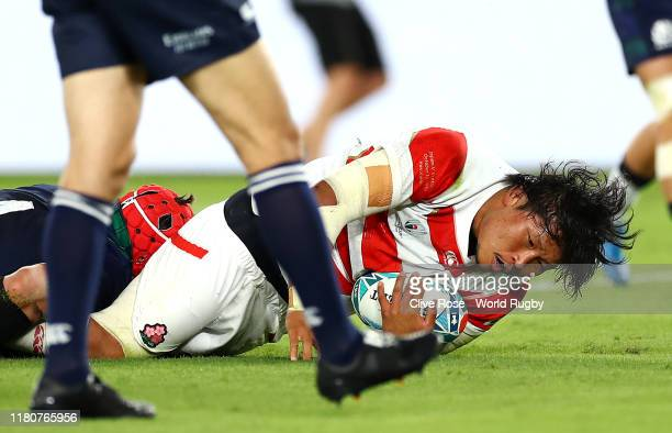 Keita Inagaki of Japan touches down to score their second try during the Rugby World Cup 2019 Group A game between Japan and Scotland at...