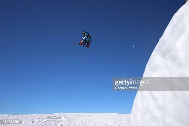 Keita Inamura of Japan competes in the FIS Snowboard World Cup Slopestyle Finals during the Winter Games NZ at Cardrona Alpine Resort on August 22...