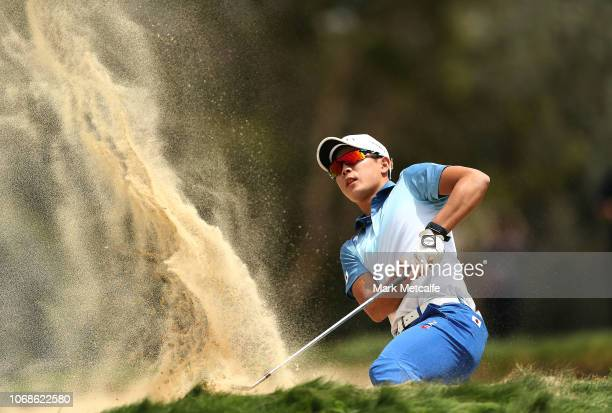 Keita Nakajima of Japan plays out of the bunker on the 4th hole during day three of the 2018 Australian Golf Open at The Lakes Golf Club on November...