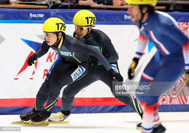 Keita Watanabe and Yuzo Takamido of Japan compete in the Men's 5000 metres relay qualification during day two of the Samsung ISU Short Track World...
