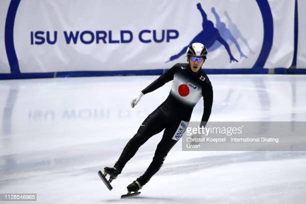 Keita Watanabe of Japan celebrates the second place after the during the men 5000 meter relay semi final one during the ISU Short Track World Cup Day...