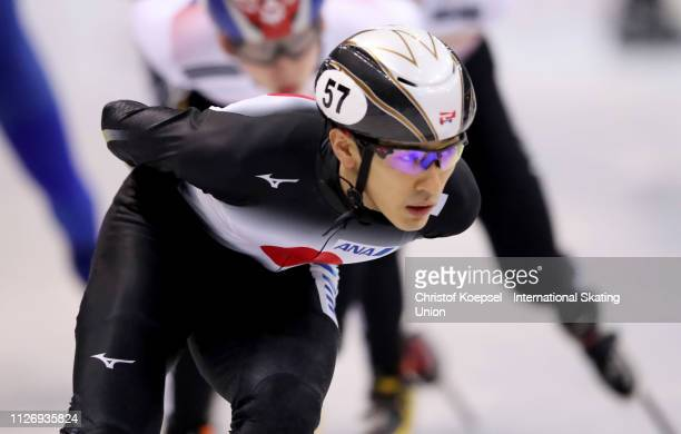 Keita Watanabe of Japan competes during the men 1500 meter final A during the ISU Short Track World Cup Day 1 at EnergieVerbund Arena on February 02...