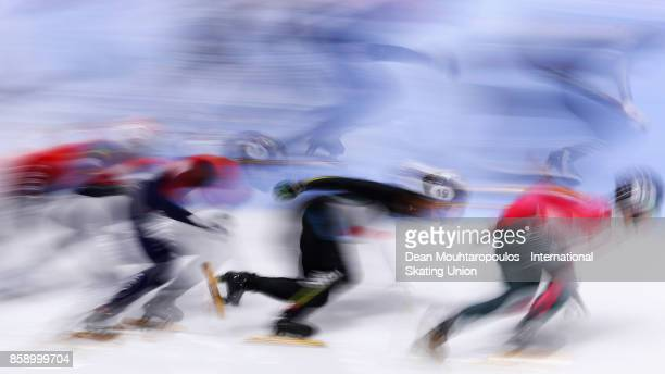 Keita Watanabe of Japan competes in the Mens 5000m Relay Final during the Audi ISU World Cup Short Track Speed Skating at Optisport Sportboulevard on...