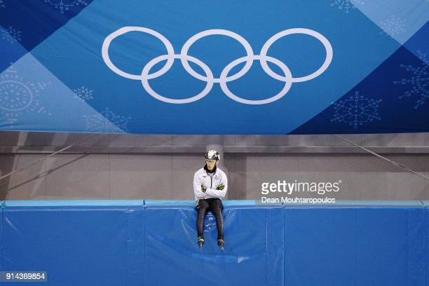 Keita Watanabe of Japan looks on at the short track training session ahead of the PyeongChang 2018 Winter Olympic Games at the Gangneung Yeongdong...