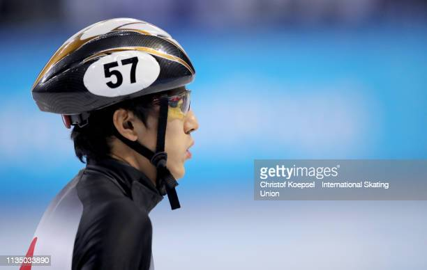 Keita Watanabe of Japanlooks on during the ISU World Short Track Speed Skating Championships Day 3 at Armeec Arena on March 10 2019 in Sofia Bulgaria...