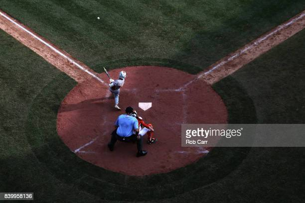 Keitaro Miyahara of Japan hits a solo home run against the Southwest Team from Texas during the Championship Game of the Little League World Series...