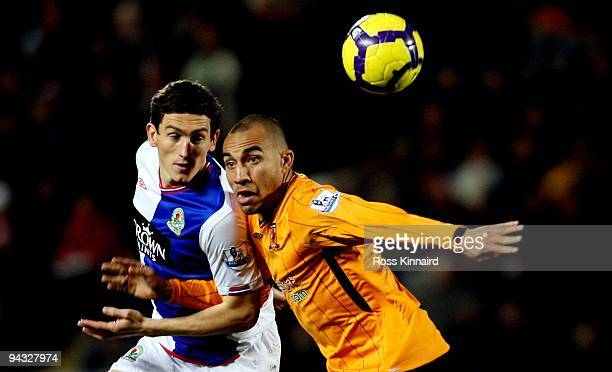 Keith Andrews of Blackburn competes for the ball with Craig Fagan of Hull during the Barclays Premier League match between Hull City and Blackburn...