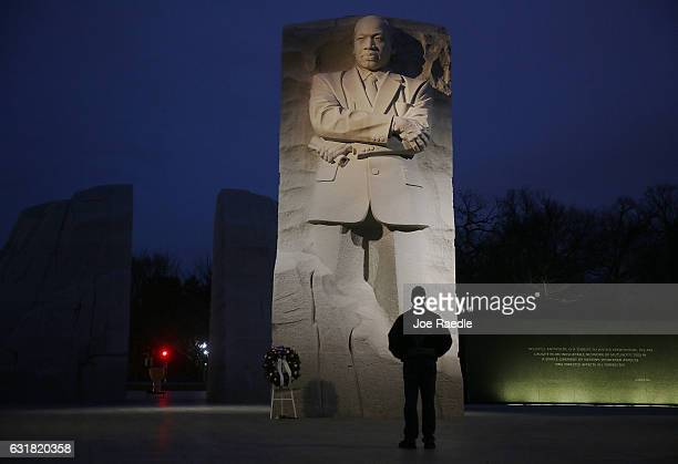 Keith Andrews visits the Martin Luther King Jr memorial on the day that honors him on January 16 2017 in Washington DC Martin Luther King day is a...