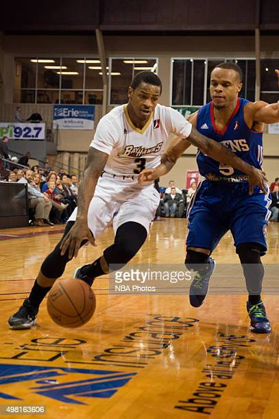 Keith Appling of the Erie BayHawks drives to the basket against the Delaware 87ers at the Erie Insurance Arena on November 20 2015 NOTE TO USER User...