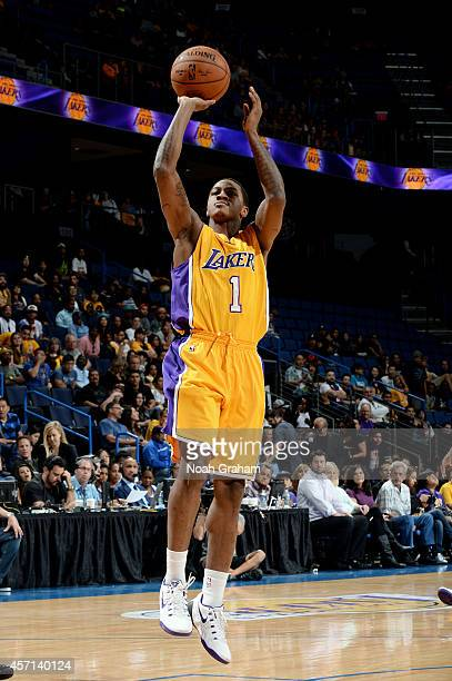 Keith Appling of the Los Angeles Lakers shoots the jumper during the game against the Golden State Warriors on October 12 2014 at Citizens Business...