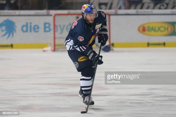 Keith Aucoin of Red Bull Munich during 42th Gameday of German Ice Hockey League between Red Bull Munich and Nuernberg Ice Tigers at...