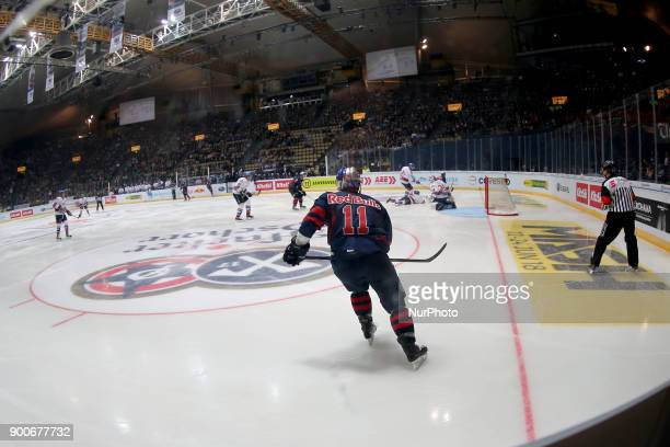 Keith Aucoin of Red Bull Munich during the 38th game day of the German Ice Hockey League between Red Bull Munich and Adler Mannheim in the...