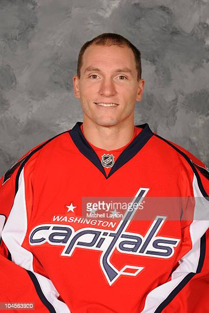 Keith Aucoin of the Washington Capitals poses for his official headshot for the 20102011 NHL season on September 17 2010 at the Kettler Capitals...