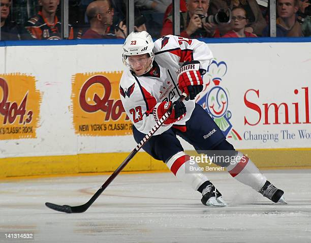 Keith Aucoin of the Washington Capitals skates against the New York Islanders at the Nassau Veterans Memorial Coliseum on March 13 2012 in Uniondale...