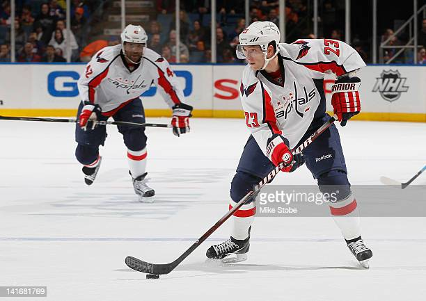 Keith Aucoin of the Washington Capitals skates against the New York Islanders at Nassau Veterans Memorial Coliseum on March 13 2012 in Uniondale New...
