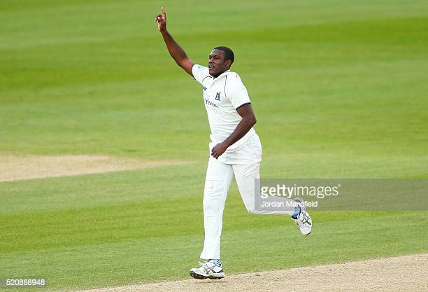 Keith Barker of Warwickshire celebrates getting the wicket of Sean Ervine of Hampshire during day four of the Specsavers County Championship Division...