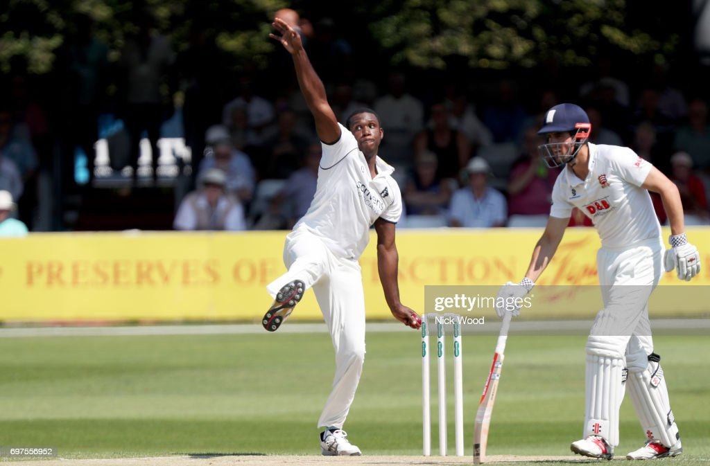 Keith Barker of Warwickshire in early bowling action during the Essex v Warwickshire - Specsavers County Championship: Division One cricket match at the Cloudfm County Ground on June 19, 2017 in Chelmsford, England.