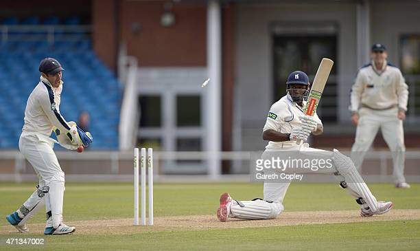 Keith Barker of Warwickshire is bowled by James Middlebrook of Yorkshire during day two of the LV County Championship Division One match between...