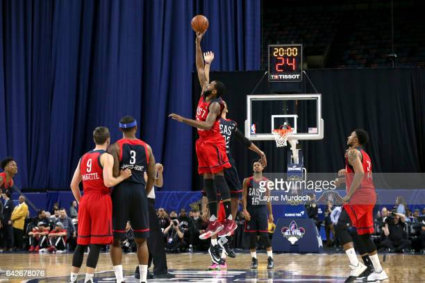 Keith Benson of the West Team and Edy Tavares of the East Team compete for the opening tipoff during the NBA DLeague AllStar Game presented by Kumho...