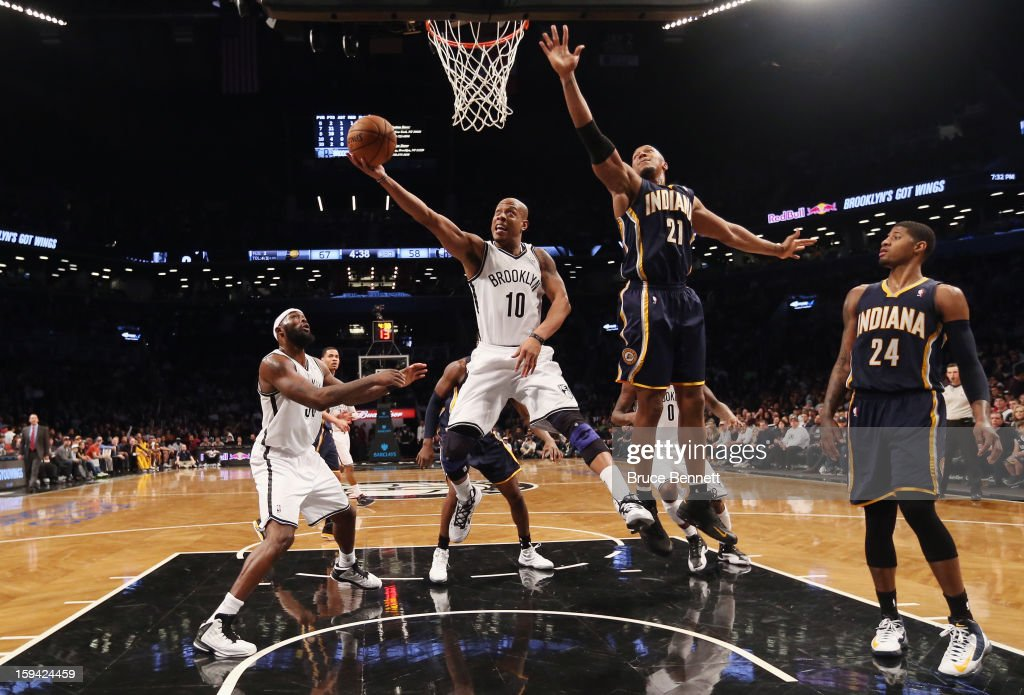 Keith Bogans #10 of the Brooklyn Nets puts down two in the second half against the Indiana Pacers at the Barclays Center on January 13, 2013 in New York City.