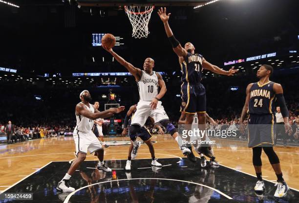 Keith Bogans of the Brooklyn Nets puts down two in the second half against the Indiana Pacers at the Barclays Center on January 13 2013 in New York...
