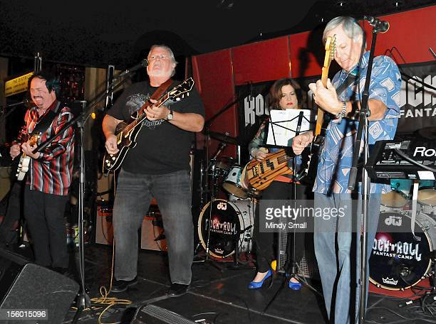 Keith Brock, Ray More, Debbie Rudy and Mike Tilbury perform at Rock 'N' Roll Fantasy Camp Free Nightly Jam at Rouge Lounge on November 10, 2012 in...
