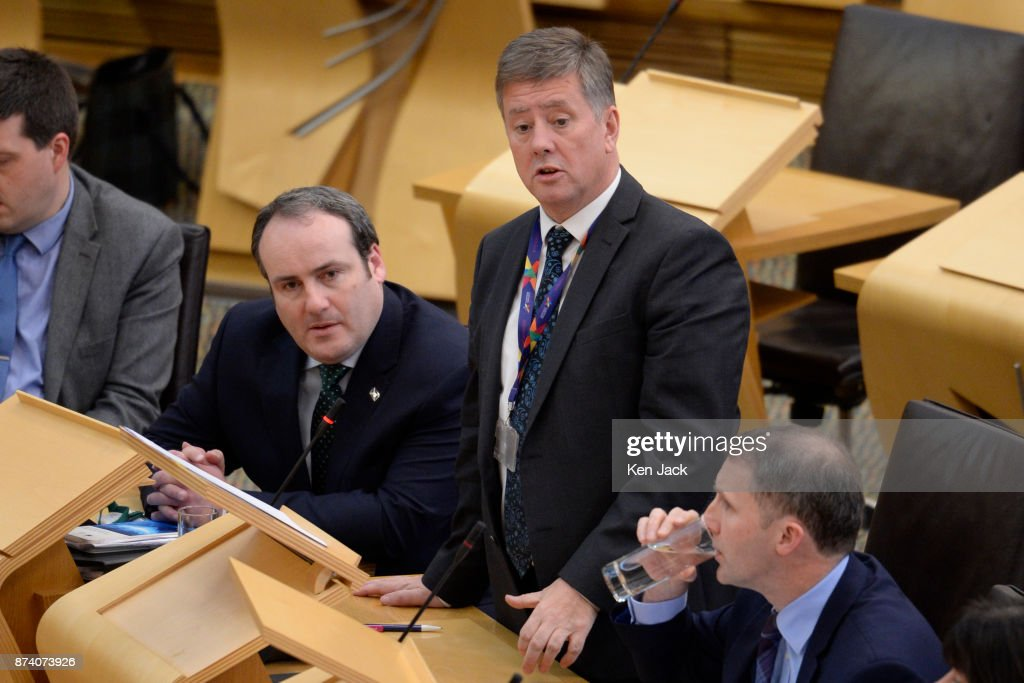 Keith Brown, Cabinet Secretary for Economy, Jobs and Fair Work, responds to a question on Scottish Government support for engineering company BiFab during Topical Questions in the Scottish Parliament, as the company faces the possibility of going into administration because of difficulties with a major contract, on November 14, 2017 in Methil, Scotland. Unions say staff have agreed to a 'work-in' - continuing to work to progress the orders in hand even though they may not be paid.