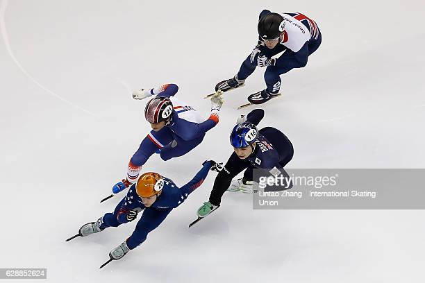 Keith Carroll of the United States Keanu Blunden of Australia Billy Simms of Great Britain and Paul Beauchamp of France competes in the Men 500m...