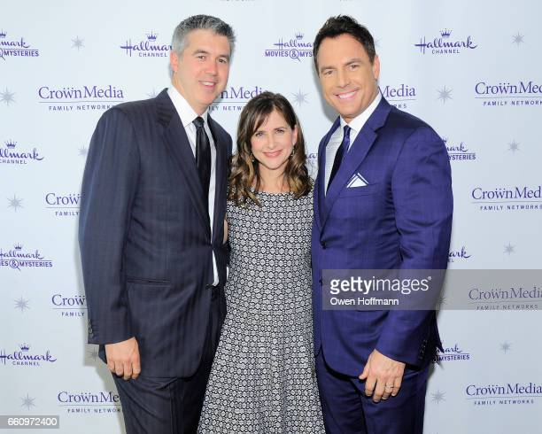 Keith Christian, Kellie Martin and Mark Steines at Crown Media's Upfront Event at Rainbow Room on March 29, 2017 in New York City.