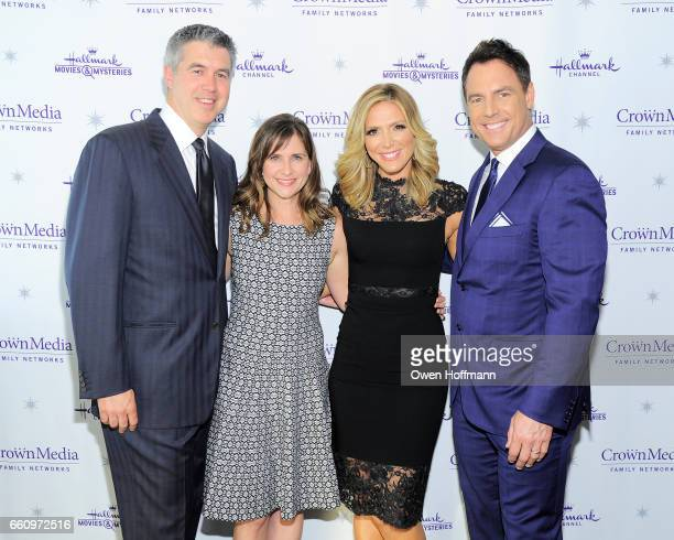 Keith Christian, Kellie Martin, Debbie Matenopoulos and Mark Steines at Crown Media's Upfront Event at Rainbow Room on March 29, 2017 in New York...