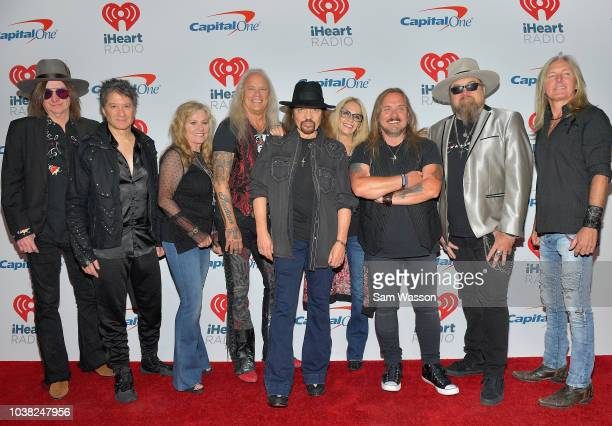 Keith Christopher Michael Cartellone Rickey Medlocke Gary Rossington Johnny Van Zant Peter Keys and Mark Matejka of Lynyrd Skynyrd attend the...