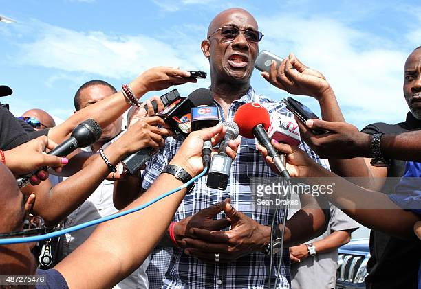 Keith Christopher Rowley leader of the opposition and member of the House of Representatives for Diego Martin West talks to journalists after casting...