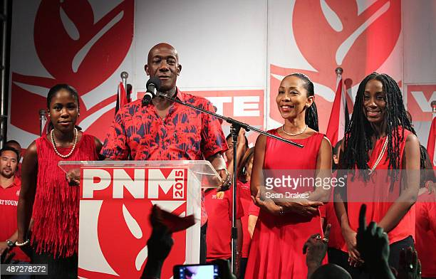 2015 Keith Christopher Rowley Leader of the People's National Movement and the newlyelected Prime Minister of Trinidad Tobago introduces his wife...